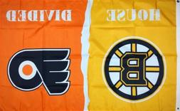 """Boston Bruins vs Philadelphia Flyers """"House Divided"""" FLAG 3x"""
