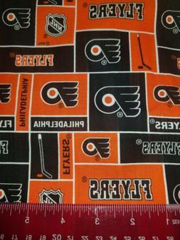 NHL HOCKEY PHILADELPHIA FLYERS cotton fabric. 1/4 yard