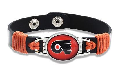 new philadelphia flyers leather adjustable bracelet gift