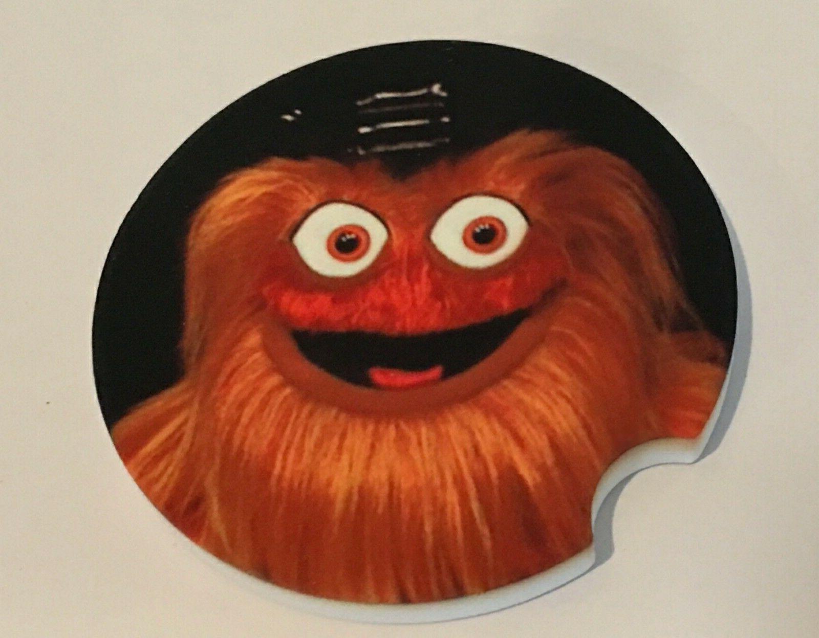 PAIR PHILADELPHIA FLYERS mascot GRITTY Car Coaster Sandstone
