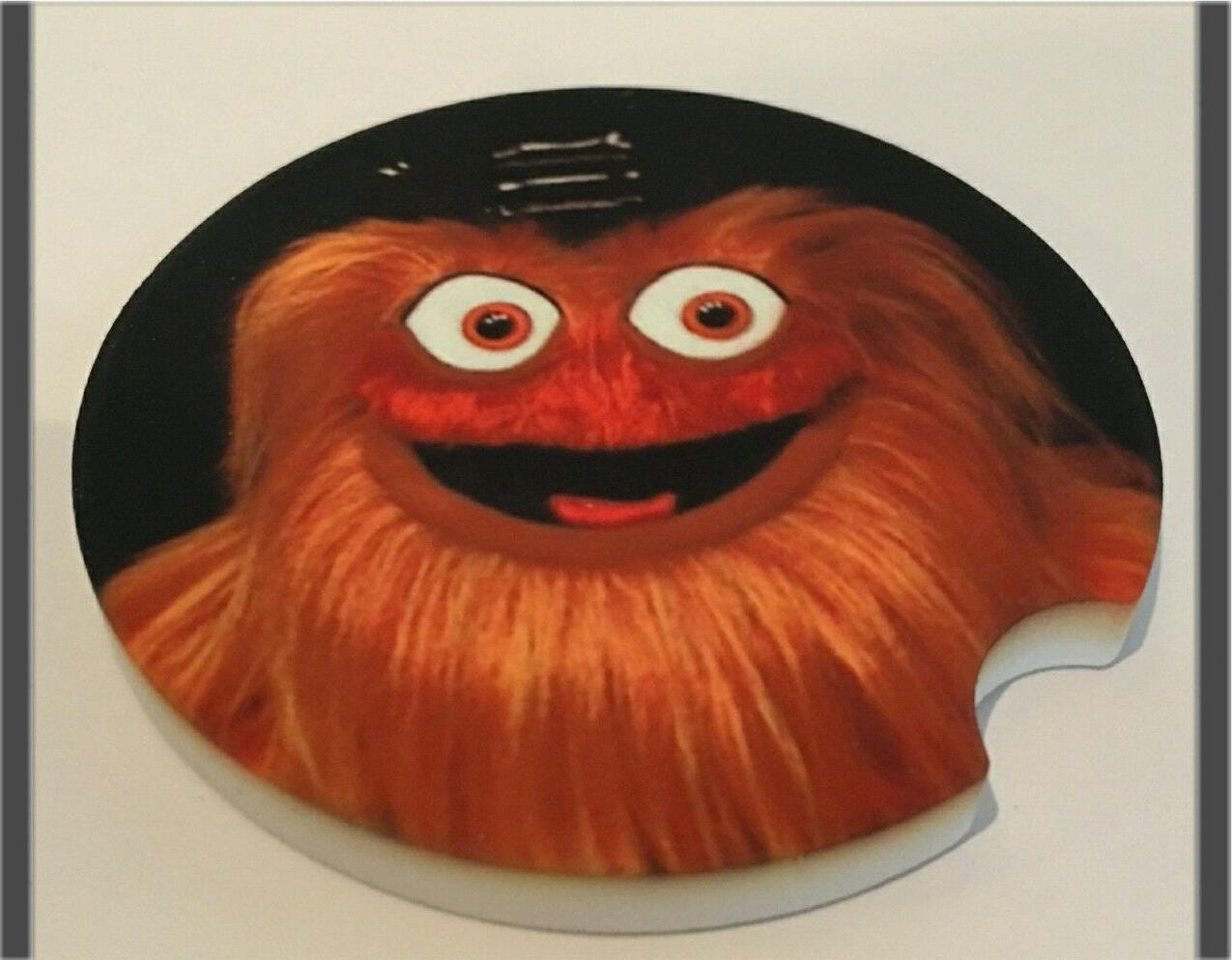 PAIR PHILADELPHIA GRITTY Car Coaster Sandstone absorbent washable