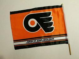 "NHL PHILADELPHIA FLYERS BANNER FLAG W/ STICK POLE 12""X17"" FU"