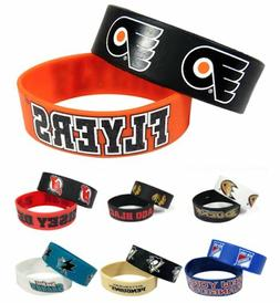 NHL Rubber Silicone Wristband Wrist Band Bracelets - Choose
