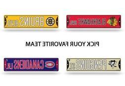 "NHL Teams - Bling Glitter 3.75"" x 16"" Hockey Street Sign Off"