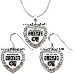 Philadelphia Flyers 925 Necklace / Earrings or Set Team Hear