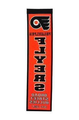 "Philadelphia Flyers EMBROIDERED WOOL HERITAGE BANNER 8""X32"""