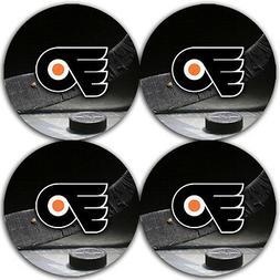 Philadelphia Flyers Hockey Rubber Round Coaster set  / RNDRB