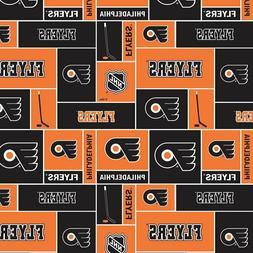 Philadelphia Flyers NHL Box Design Cotton Fabric-$8.99/yard