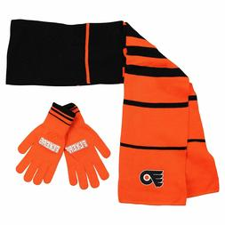 PHILADELPHIA FLYERS NHL Scarf and Gloves Gift Set 2 TONE COL