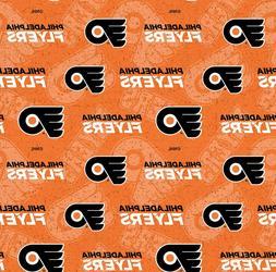 Philadelphia Flyers NHL Tone on Tone Design Cotton Fabric-$8
