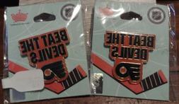 Philadelphia FLYERS Pins TWO  Metal New Sealed Hockey Logo E