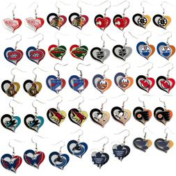 swirl heart earring dangle charm NHL PICK YOUR TEAM